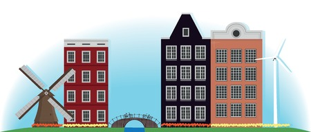 Illustration. Mill, building and bridge in the Netherlands.