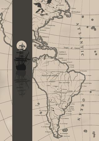 Le vecchie carte nautiche e una nave a vela.