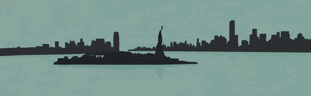 Illustration of the view of New York from the ocean.