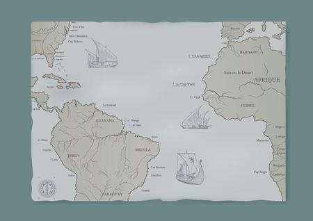 Le vecchie carte nautiche e una nave a vela. Vettoriali