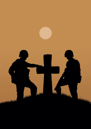 Two soldiers near the old grave with a cross. Illustration