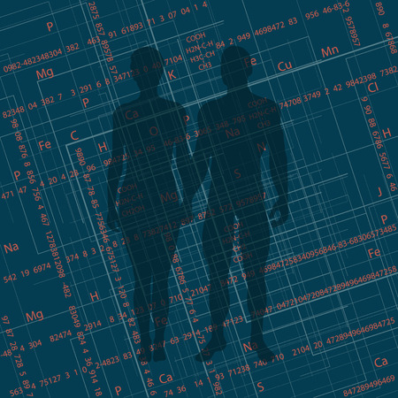 Abstract image of a man and a woman with numbers and formulas in the back