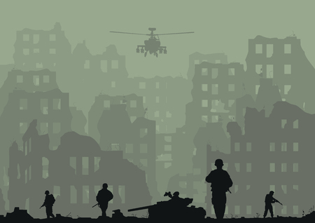 Illustration of the ruined city, exploded tanks, helicopters and soldiers. Illustration