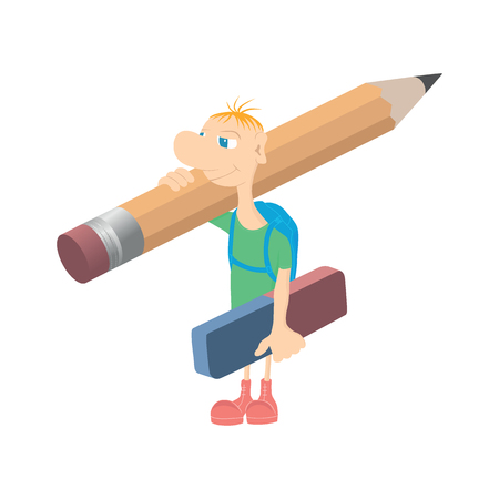Humorous little man with a pencil.