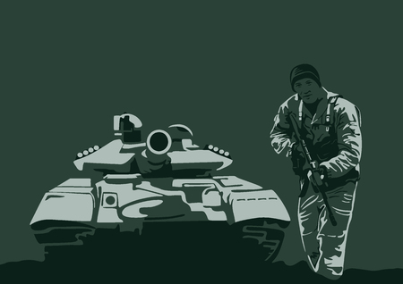 Illustration, tank and soldier with arms Illustration