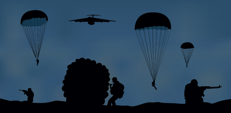 Illustration, airplane and paratroopers. Illustration