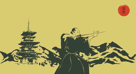 Illustration, a man with a sword and mountains. Illustration