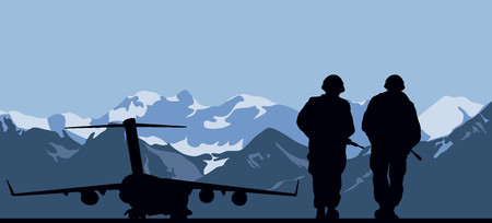 Military aviation base and two soldiers. Illustration