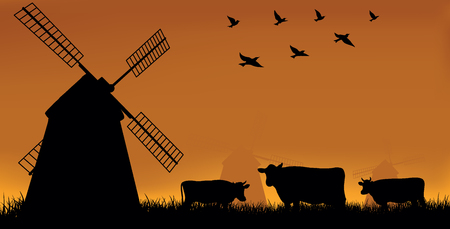 Illustration, mill and cow on a meadow. Illustration