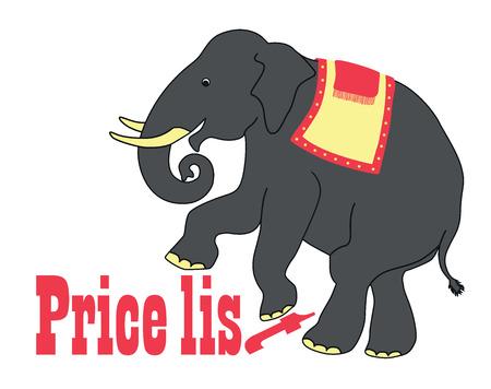 humorous: Humorous elephant, advertising illustration.