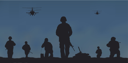 Soldiers on the performance of the combat mission. Stock Vector - 81714024