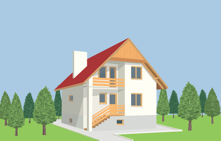 Residential house among trees. Ilustração