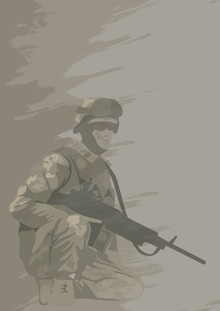 Soldier in combat position, illustration.