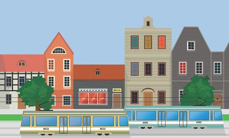 Street of the city, houses and trams. Vektoros illusztráció