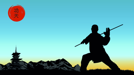 The man demonstrates the technique of Kung Fu.