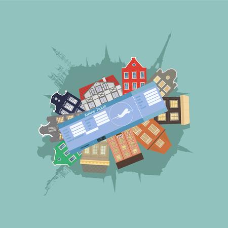 Plane ticket, architecture and attractions Ilustração