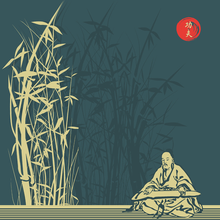 The old sage and bamboo thickets. vector illustration Çizim