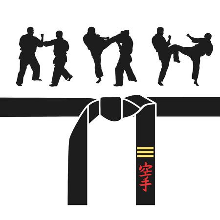 Karate belt, men demonstrating karate. vector illustration