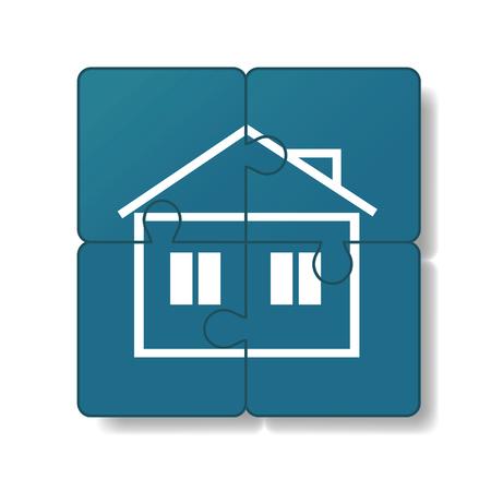 Het huis is opgebouwd uit puzzels. Stock Illustratie