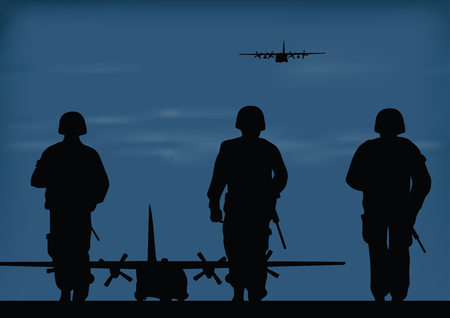 Soldiers and planes walking silhouette vector