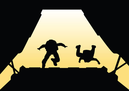 Two paratroopers jump from the plane. Stock Illustratie
