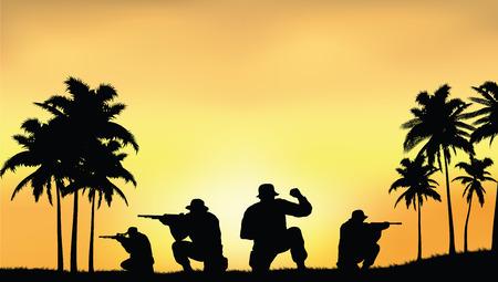 Soldaten over de uitvoering van de gevechtsmissie. Stock Illustratie