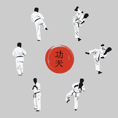 A group of men showing Kung Fu and a hieroglyph on a red background.
