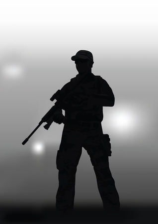 A man with a sniper rifle on a dark background