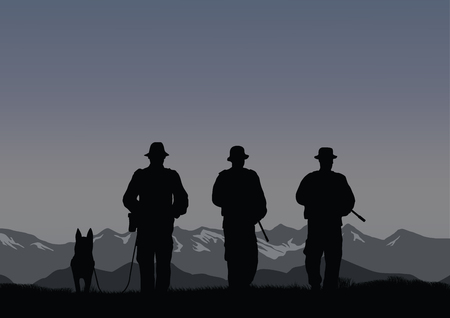 Three border guards with a dog on the border. Stock Vector - 93053624