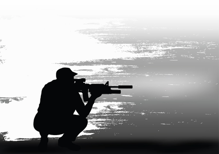 The sniper prepares for shooting.