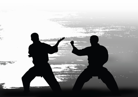 Two men demonstrate karate Illustration