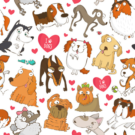 Seamless pattern for dog lovers with dogs and hearts Illustration