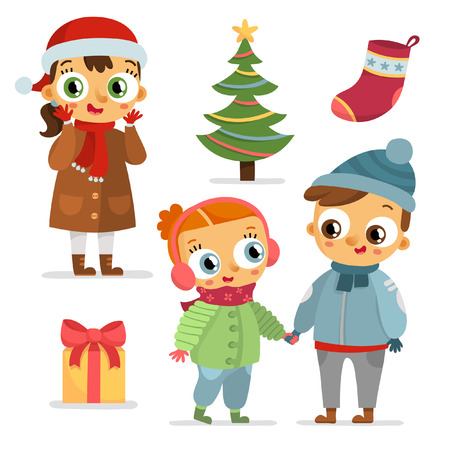 Adorable Winter Set Of Children Characters And Christmas Symbols