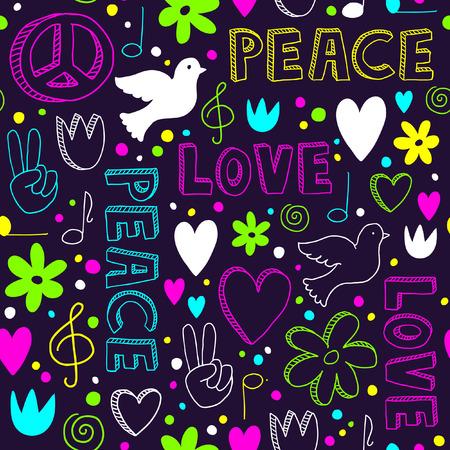 segno della pace: Bright-disegnati a mano seamless con i simboli di pace - colombe, cuori, segni di pace, fiori e lettere, - scarabocchi al neon su sfondo scuro viola