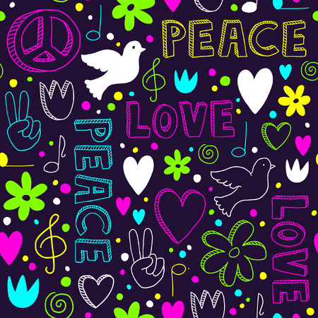 Bright hand-drawn seamless pattern with symbols of peace - doves, hearts, peace signs, flowers and lettering, - neon doodles on dark purple background Illustration