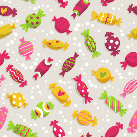 Cute seamless pattern with colorful sweets