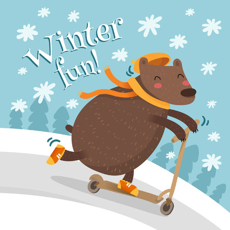 funny christmas: Funny Christmas greeting card design with bear riding scooter Illustration