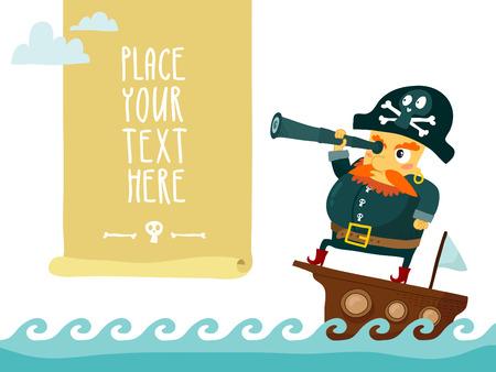 pirate skull: Pirata con el catalejo en barco