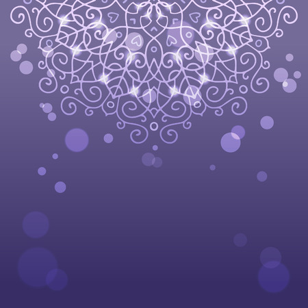 mysterious: Mysterious abstract purple background with a mandala ornament sparkles and bokeh