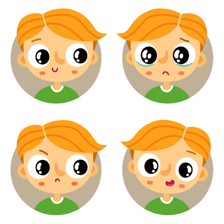 displeased: Cute set of four young boy emotions Illustration