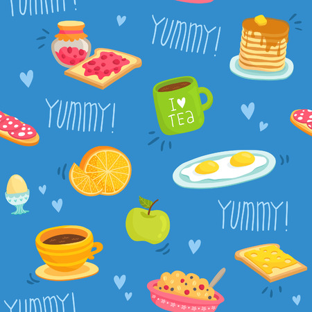 Cute seamless pattern with various breakfast products: tea, coffee, sandwich, porridge, orange, apple, pancakes, eggs, toasts with cheese and jam on blue background Vector