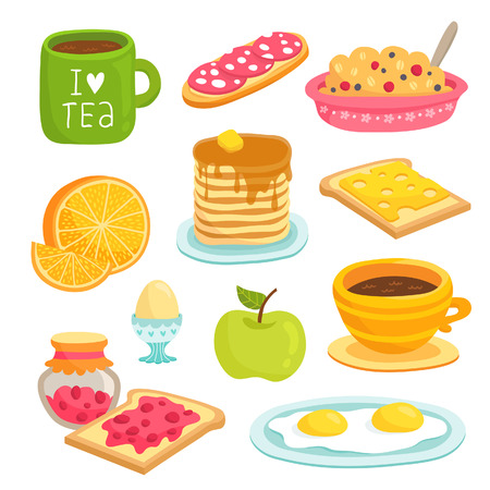 scrambled: Cute breakfast icon cartoon set with various products: tea, coffee, sandwich, porridge, orange, apple, pancakes, eggs, toasts with cheese and jam Illustration