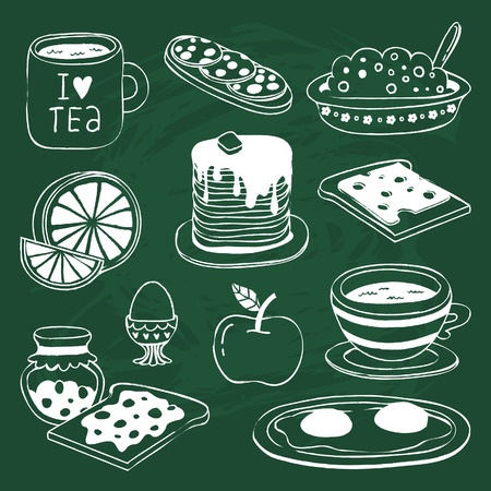 scrambled: Cute breakfast icon set with various products - tea, coffee, sandwich, porridge, orange, apple, pancakes, eggs, toasts with cheese and jam - drawn on chalkboard