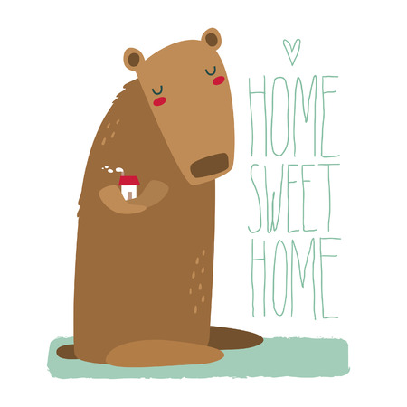 cozy: Cozy illustration of a cute bear holding a house, with lettering, hipster style