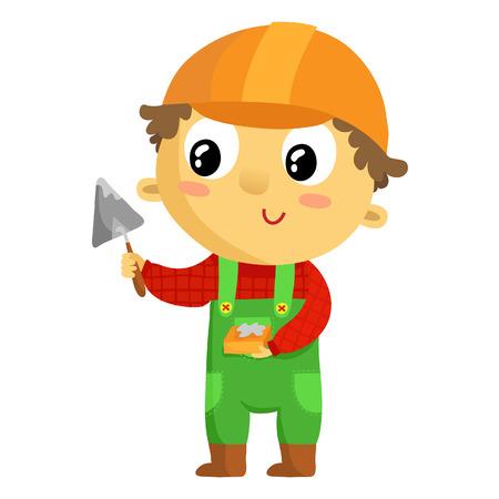 builder cartoon: Kid builder, cartoon character isolated on white
