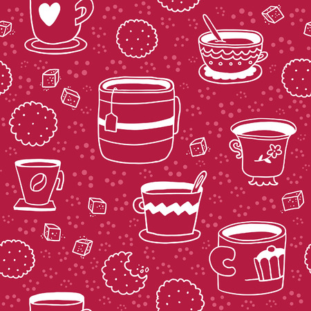 sugar cookies: Cute hand-drawn seamless pattern with cups, cookies and sugar Illustration