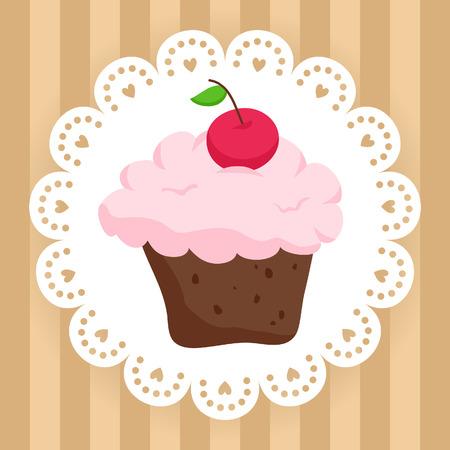 Illustration of chocolate cupcake with cherry on cute napkin Фото со стока - 40409508