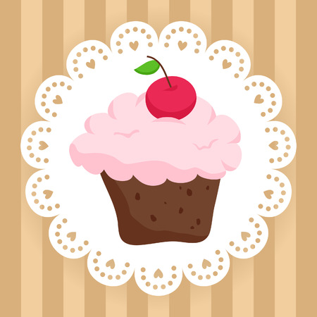 Illustration of chocolate cupcake with cherry on cute napkin