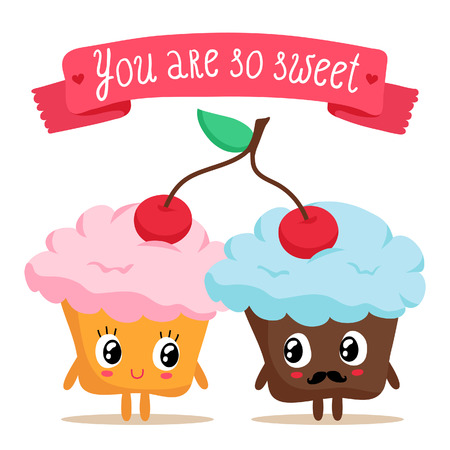 sweet couple: Illustration of a cute pair of cupcakes sharing a cherry with lovely ribbon banner, isolated on white Illustration