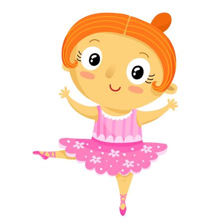 talented: Girl ballerina, cartoon character isolated on white